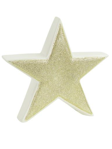 Image of White With Gold Glitter Free Standing Star Ceramic Christmas Ornament - 17cm