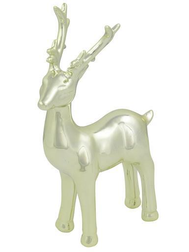 Image of Champagne Elegant Standing Cermic Reindeer Ornament - 20cm