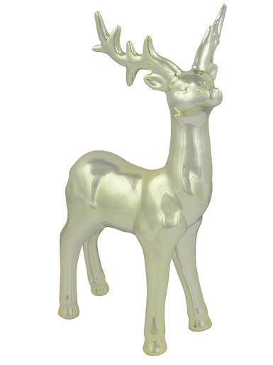 Image of Majestic Standing Ceramic Champagne Reindeer Ornament - 32cm