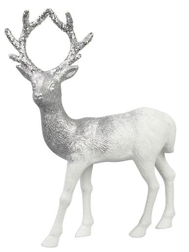 Image of White With Silver Glitter Standing Reindeer Buck Ornament - 32cm