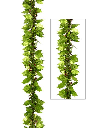 Image of Lime Green Holly Leaf & Berry Like Tinsel Garland - 2.7m
