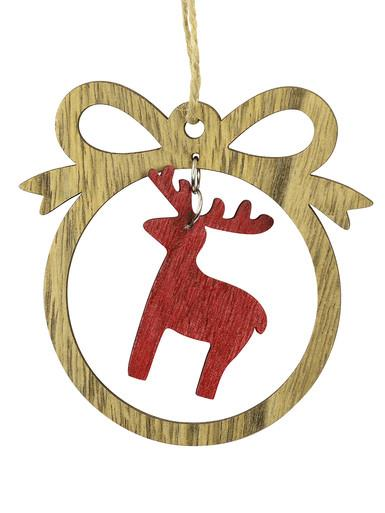 Image of MDF Bow With Red Reindeer Cut-Out Hanging Decoration - 10cm