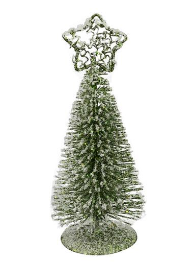 Image of Green Frosted Wire Tree Table Top Ornament - 15cm