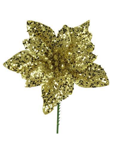 Image of Gold Glittered Flecks Poinsettia Pick - 16cm