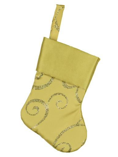 Image of Mini Gold Satin Christmas Stocking Hanging Decorations - 6 x 15cm