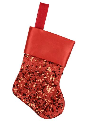 Image of Mini Red Sequin Christmas Stocking Decorations - 6 x 15cm
