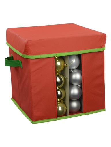 Image of Red & Green Bauble / Decoration Storage Box - Fits Up To 80 x 60mm Baubles