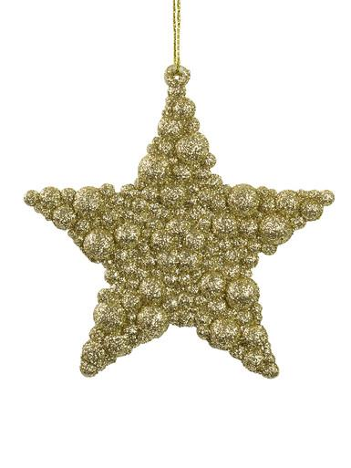 Image of Glittered Champagne Bubble Textured Star Hanging Decoration - 95mm