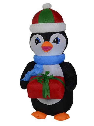 Image of Standing Penguin With Gift Illuminated Inflatable - 1.3m