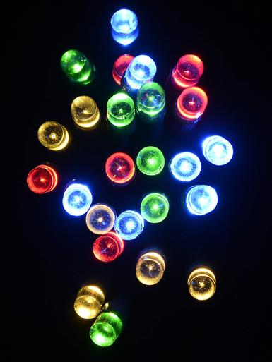 Image of 100 Multi Colour String Lights with USB Connector & Green Cable - 10m