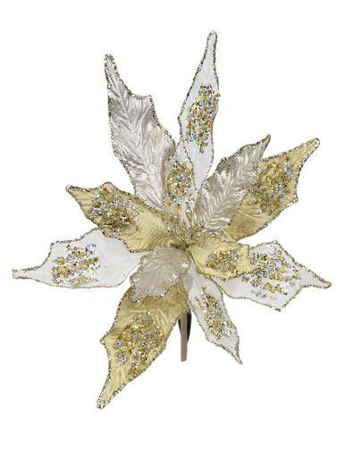Image of Gold & Platinum Poinsettia Clip On Pick - 22cm