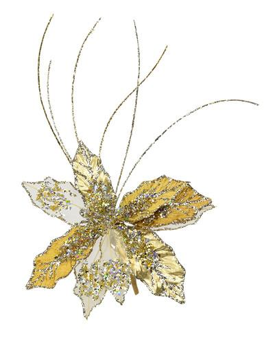 Image of Gold & Platinum Decorative Christmas Cactus Floral Pick - 25cm