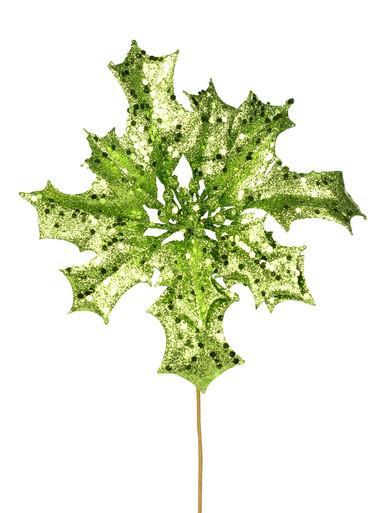 Image of Apple Green Glitter Poinsettia Pick on Single Stem - 28cm