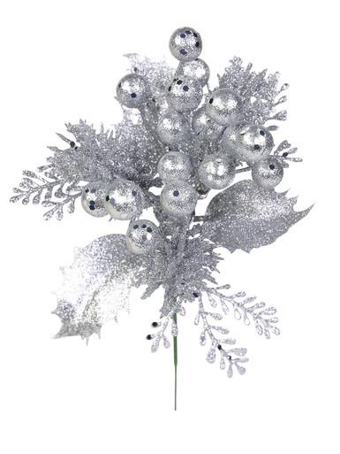 Image of Silver Glittered Decorative Berry Floral Pick With Twigs & Leaves - 20cm
