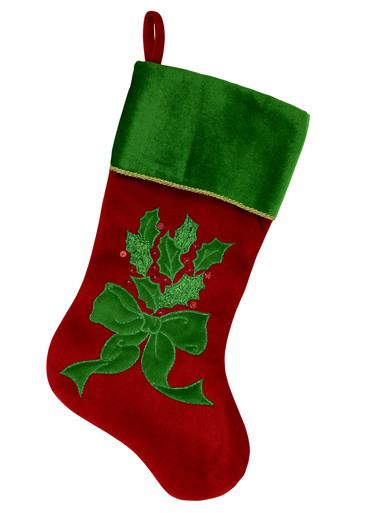 Image of Red & Green Velvet Stocking With Holly Leaf Applique & Embroidery - 46cm