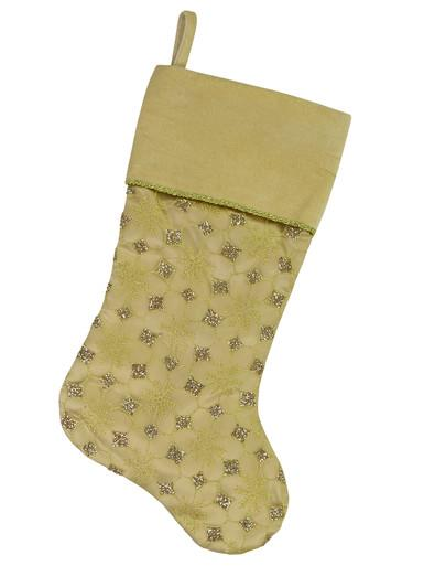 Image of Gold Organza Stocking With Glitter Star & Snowflake Design - 46cm