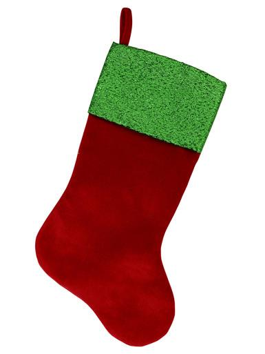 Image of Red Velvet Stocking With Metallic Green Cuff - 46cm