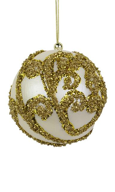 Image of Ivory Bauble with Gold Glitter Encrusted Swirl - 8cm