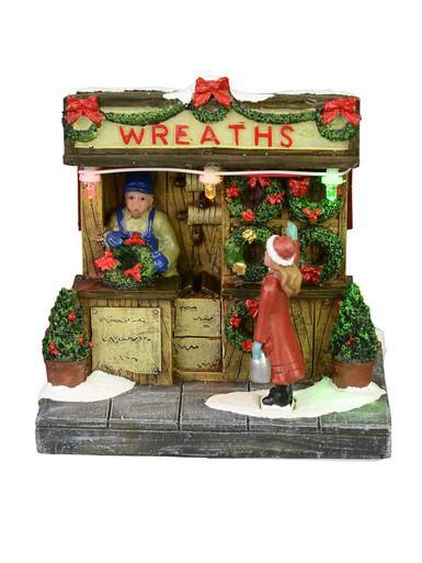 Image of Illuminated Wreath Stall Scene - 11cm