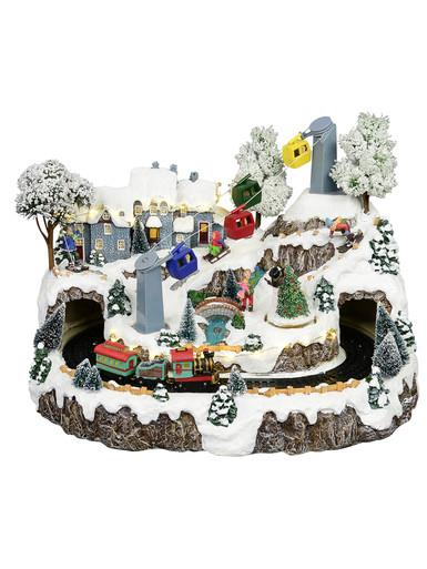Image of Animated & Illuminated Winter Snow Covered Village with Train & Cable Car - 38cm