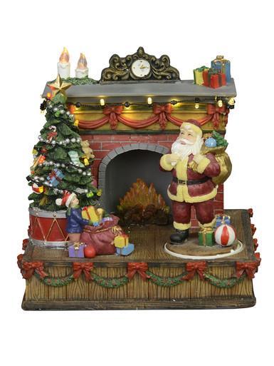 Image of Animated & Illuminated Santa By The Fireplace Scene - 20cm