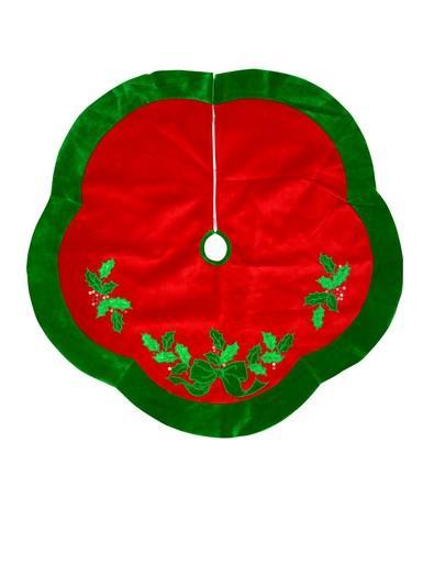 Image of Red Velvet Scalloped Tree Skirt With Green Border & Holly Leaf Design - 1.2m