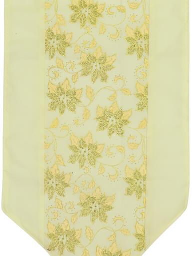 Image of Soft Gold Table Runner With Gold Glitter Flower Design - 1.8m