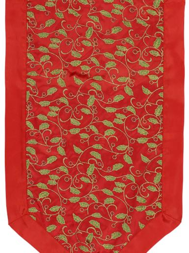 Image of Red Table Runner With Green Holly Leaf Design & Gold Tassel - 1.4m