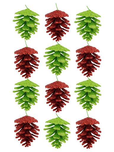 Image of Red & Green Glitter Pine Cone Hanging Decoration - 12 x 60mm
