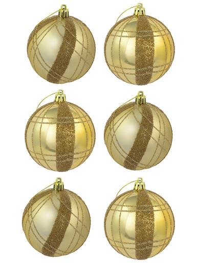 Image of Matte Gold With Gold Sprinkle & Glitter Detail Baubles - 6 x 80mm