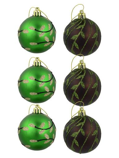 Image of Matte Green & Brown With Glitter Leaf Design Baubles - 6 x 60mm