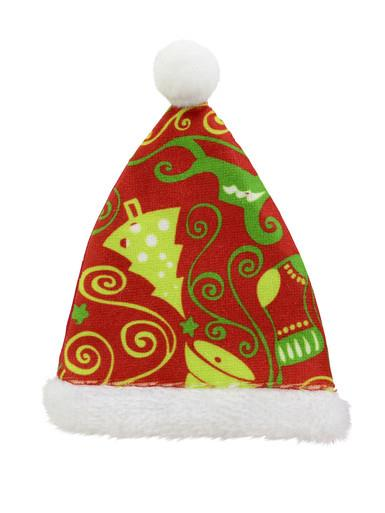 Image of Red Santa Hat with Green Christmas Print Hanging Ornament - 12cm