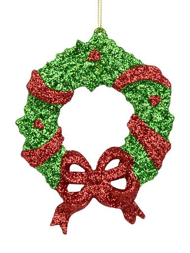 Image of Red & Green Glitter Wreath Hanging Ornament - 13cm