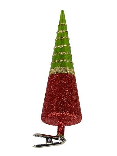 Image of Cone Shape Tree with Clip On Ornament in Red, Green & Gold - 13cm
