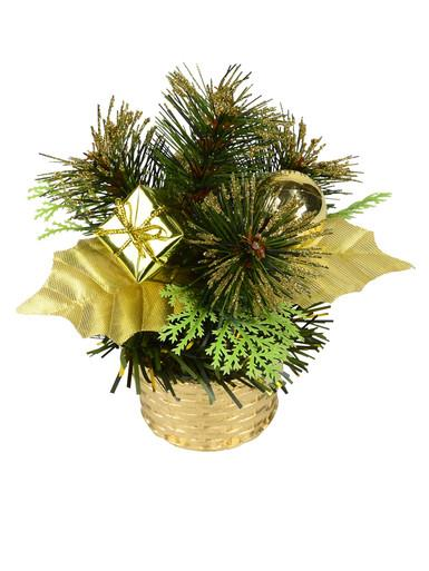Image of Gold Woven Basket with Greenery & Gift Standing Ornament - 16cm