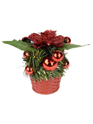 Image of Red Woven Basket With Red Baubles & Flower Standing Ornament - 10cm