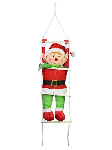 Image of Padded Christmas Elf Climbing Ladder Outdoor Hanging Decoration - 87cm
