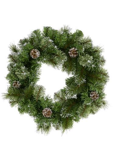 Image of Natural Look Pine Wreath With Pine Cones & 84 Silver Glitter Tips - 36cm