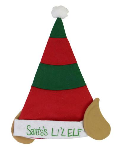 Image of Childrens Felt Elf Hat in Red & Green with Ears - 40cm