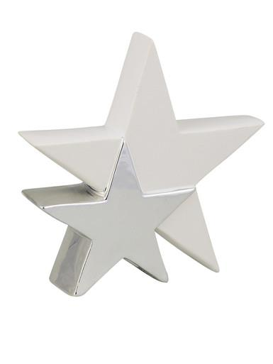 Image of Standing Double Star In White With Silver Ceramic Christmas Ornament - 17cm