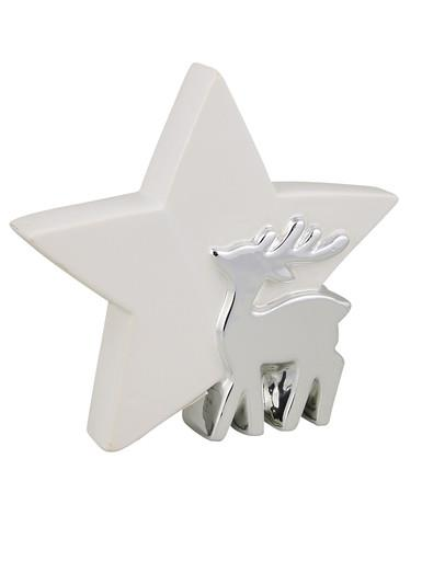 Image of Ceramic Standing Star Ornament with Reindeer in White & Silver - 18cm