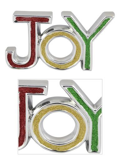 Image of Ceramic Silver Border JOY Ornament With Glittered Colour Letters - 19cm