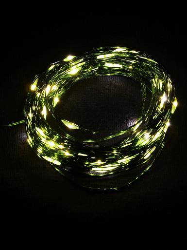 Image of 100 Warm White Battery Powered LED Micro Lights with Green Wire - 8m