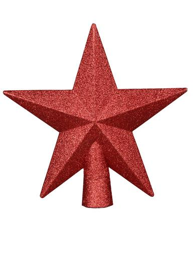 Image of Brushed Metallic Red Star Tree Topper - 20cm