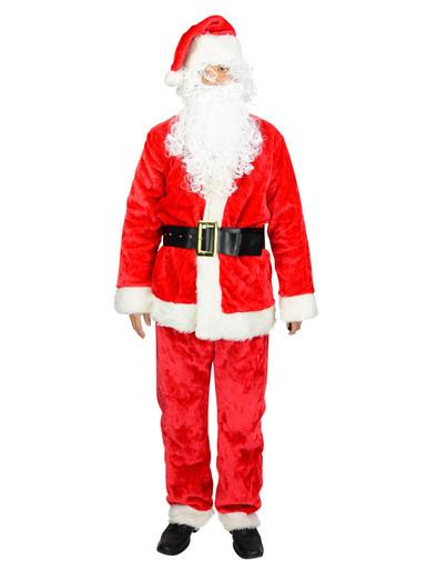 Image of Standard 6 Piece Plush Full Santa Suit - One Size Fits Most