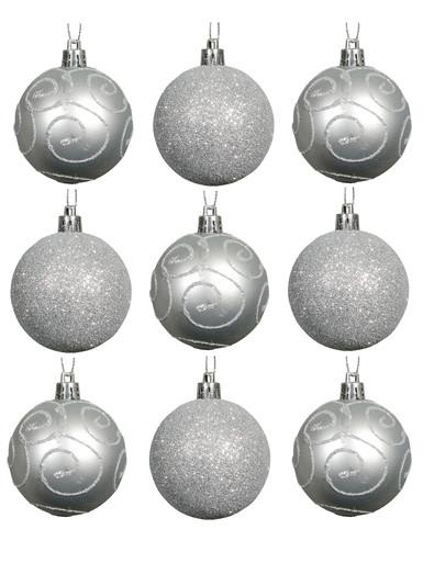 Image of Silver Swirl Pattern & Glittered Baubles - 9 x 60mm