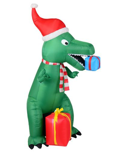 Image of Green T-Rex Dinosaur Inflatable With Santa Hat & Gifts - 2.1m