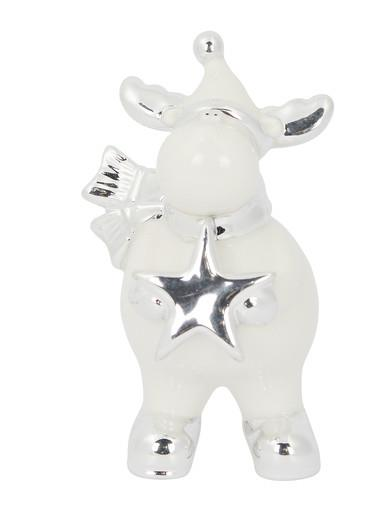 Image of Ceramic Reindeer Standing Ornament In White Gloss & Silver - 14cm