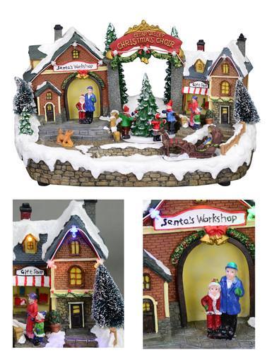 Image of Christmas Village Scene With Santa's Workshop & Moving Children - 33cm