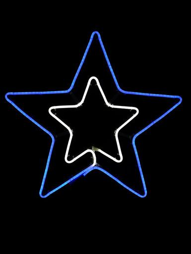 Image of Blue & Cool White Double Star Neon Rope Light Silhouette - 55cm